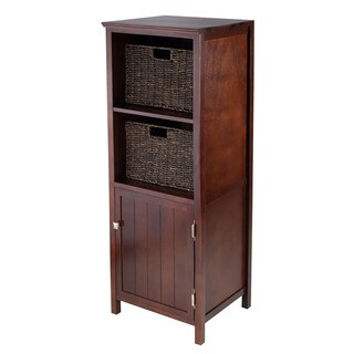 Winsome Brooke Jelly Walnut Wood Storage Cupboard with 2 Baskets (Pack of 3)
