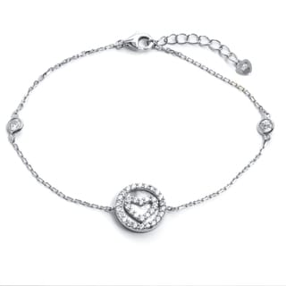 Pori 18-carat Gold Plate Over Silver or Sterling Silver Cubic Zirconia Heart in a Circle Bracelet with Extension