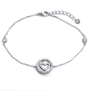 Pori 18-Carat Gold Plate Over Silver Or Sterling Silver Cubic Zirconia Heart In A Circle Bracelet Wi