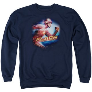 The Flash/Fastest Man Adult Crew Sweat in Navy