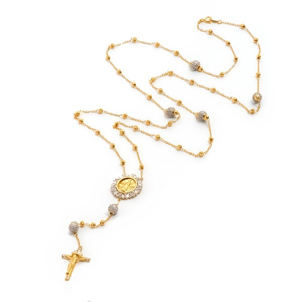 Pori Gold Plated Two-Tone/Rhodium Plated Sterling Silver Beaded Fancy Rosary Necklace With Cruci