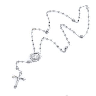 Pori 18k Gold-plated Two-tone Sterling Silver Beaded Rosary Necklace