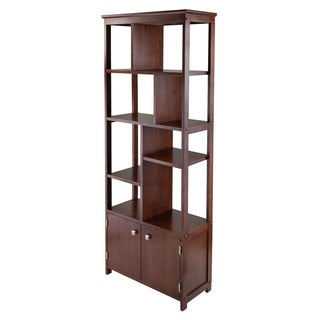 Winsome Oscar Antique Walnut Wood Vertical Display Storage Shelf