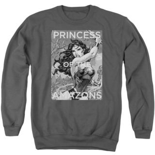 JLA/Princess Of The Amazons Adult Crew Sweat in Charcoal
