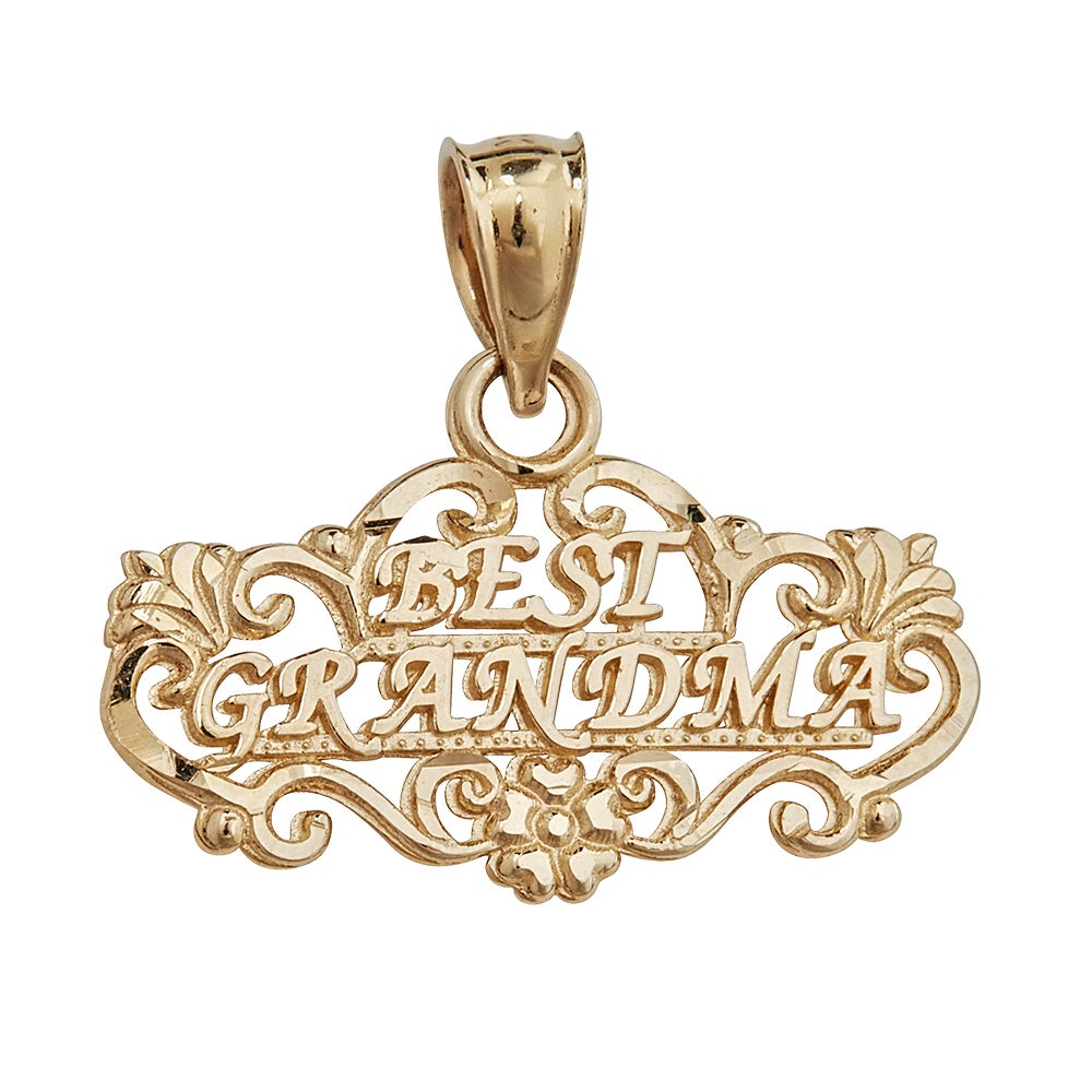 Best Grandma 14k Yellow Gold Pendant (Yellow), Women's