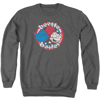 Beetle Bailey/Red White and Bailey Adult Crew Sweat in Charcoal
