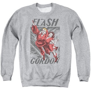 Flash Gordon/To The Rescue Adult Crew Sweat in Athletic Heather