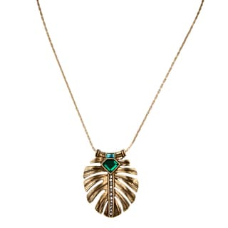 Brass Elegant Simulated Emerald Leaf Inlay Pendant Necklace
