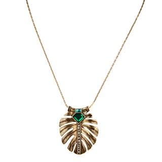 Brass Elegant Simulated Emerald Leaf Inlay Pendant Necklace