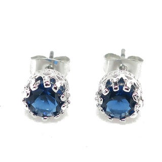 London White Brass Blue Crystal 2-carat Special Crown Setting Earrings
