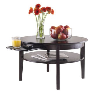 Winsome Amelia Espresso Wood Round Storage Coffee Table with Pull Out Tray