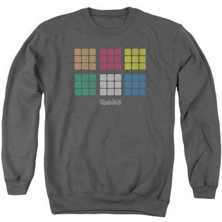 Rubik's Cube/Minimal Squares Adult Crew Sweat in Charcoal