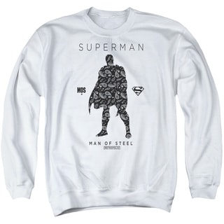 Superman/Paisley Sihouette Adult Crew Sweat in White