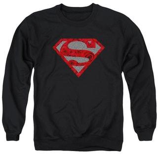 Superman/Elephant Rose Shield Adult Crew Sweat in Black