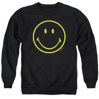 Smiley World/Yellow Line Smiley Adult Crew Sweat in Black