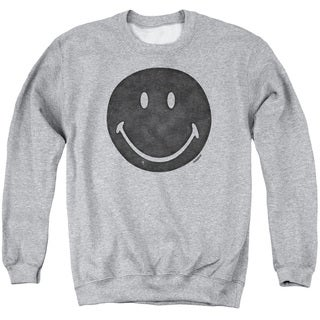 Smiley World/Rough Face Adult Crew Sweat in Athletic Heather