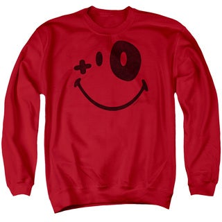 Smiley World/Fight Club Adult Crew Sweat in Red