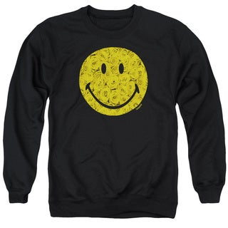 Smiley World/Rosey Face Adult Crew Sweat in Black