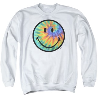Smiley World/Tie Dye Face Adult Crew Sweat in White