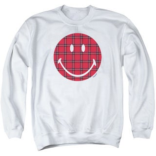 Smiley World/Plaid Face Adult Crew Sweat in White