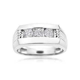 SummerRose 14k White Gold 1-carat Diamond Men's Ring