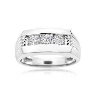 SummerRose 14k White Gold 1-carat Diamond Men's Ring