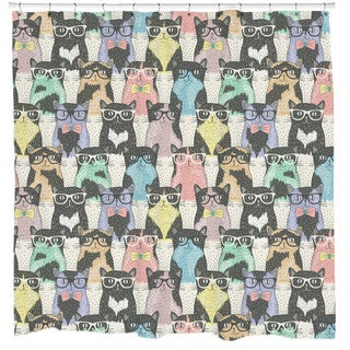 Sharp Shirter Nerdy Cats Shower Curtain