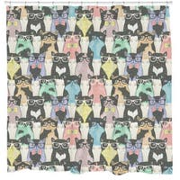 Sharp Shirter Nerdy Cats Shower Curtain