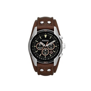 Fossil CH2891 Coachman Men's Brown and Black Leather and Stainless Steel Watch
