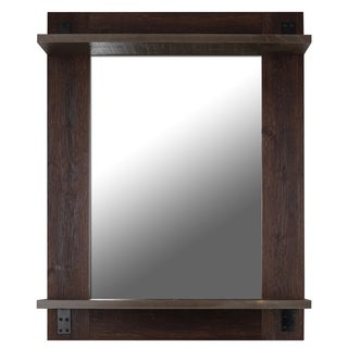 Brown Metal/Glass/Wood 30-inch x 38-inch Mirror Shelf