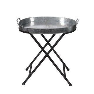 Privilege International Silver Iron Folding Tray Table
