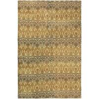 eCarpetGallery Vibrance Dhurrie Yellow/Brown Wool/Cotton Rug - 4'11 x 7'9
