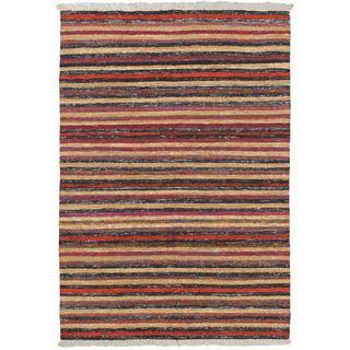 eCarpetGallery Silky Allure Black/Brown Viscose/Wool Kilim Rug (4'7 x 6'7)