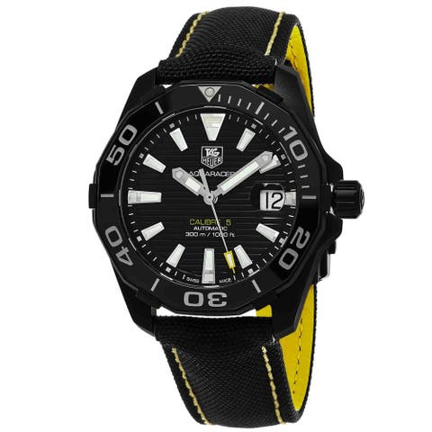 Tag Heuer Men's WAY218A.FC6362 '300 Aquaracer' Black Dial Black Strap Swiss Automatic Watch