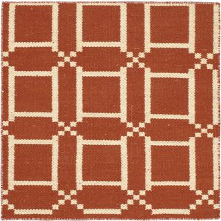 eCarpetGallery Brown/Ivory Cotton/Wool Kilim Natural Plush Rug (3'11 x 3'11)