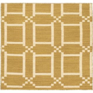 eCarpetGallery Ivory/Orange Cotton/Wool Kilim Natural Plush Rug (3'11 x 3'11)