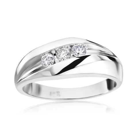 SummerRose Men's 14k White Gold 1/3ct TDW Diamond Ring
