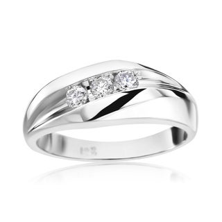 SummerRose Men's 14k White Gold 1/3ct TDW Diamond Ring