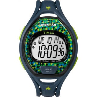 Timex Unisex TW5M078009J Ironman Sleek 50 Blue and Green Resin Full-size Strap Watch