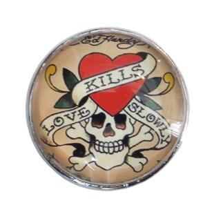 Love Kills Slowly' Skull Glass Drawer/ Door/ Cabinet Pull Knob (Pack of 6)