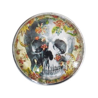 Skull Candy Glass Skull in Flowers Glass Drawer/ Door/ Cabinet Pull Knob (Pack of 6)