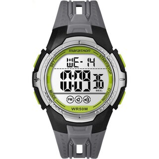 Timex Marathon Black/Grey/Green Resin/Acrylic/Stainless Steel Digital Full-size Men's Strap Watch - Black/silver