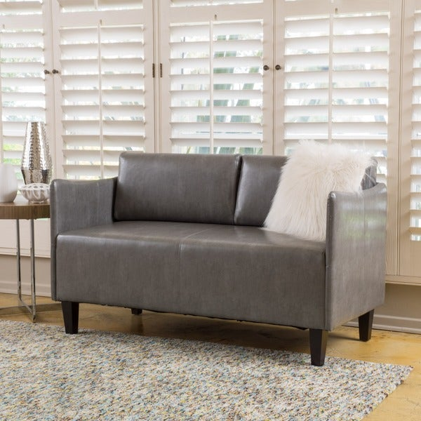 Cayo Faux Leather Loveseat Sofa By Christopher Knight Home Free - Love seat and sofa