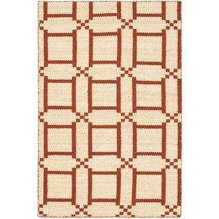 eCarpetGallery Contemporary Cream/Dark Copper Wool Handwoven Kilim Rug (3' 9 x 5' 9)
