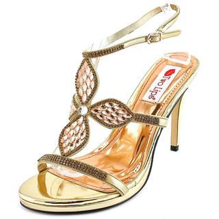 Two Lips Women's Kayla Gold Synthetic Open-toe High Heels