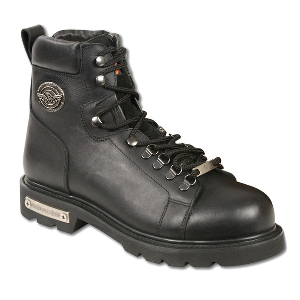 Men's Black Leather Lace to Toe Boots with Side Zipper