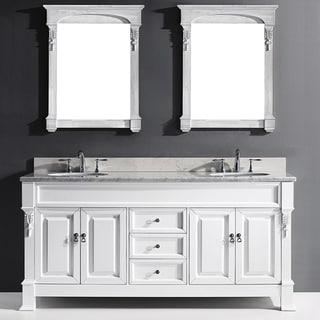 "Huntshire 72"" Double Bathroom Vanity Cabinet Set in White"