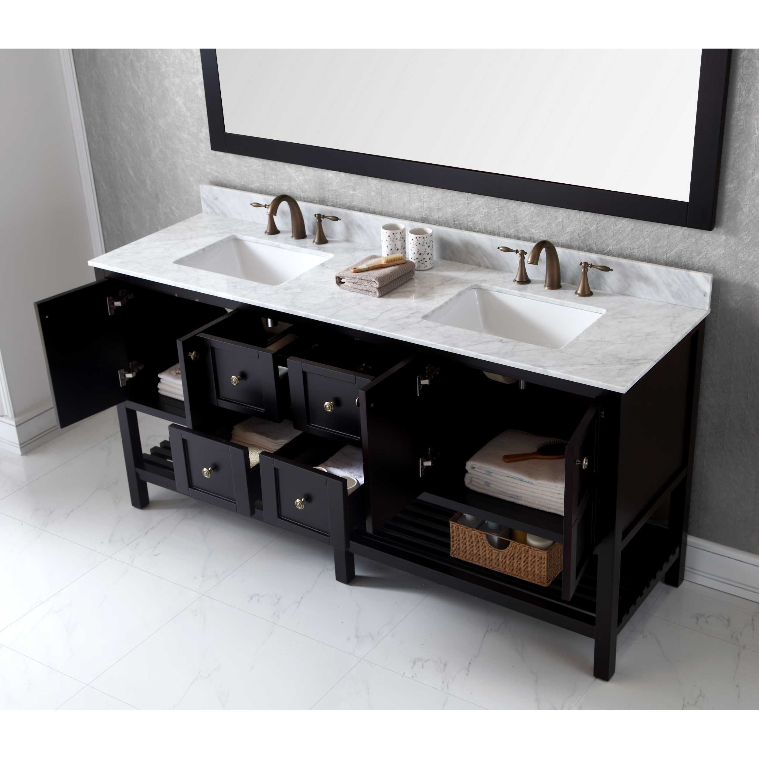 Virtu USA Winterfell 72-inch Double Bathroom Vanity Set w/ Faucet ...