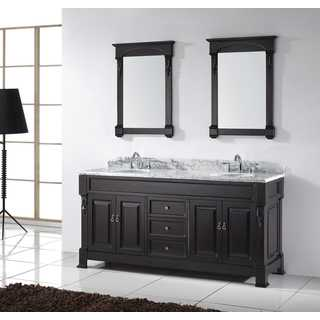 Virtu USA Huntshire 72-inch Carrara White Marble Double Bathroom Vanity with Faucets