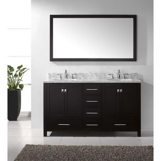 Virtu USA Caroline Avenue 60-inch Double White Marble Bathroom Vanity Set with Faucet Options